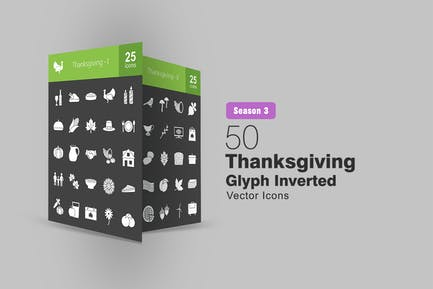 50 Thanksgiving Glyph Inverted Icons
