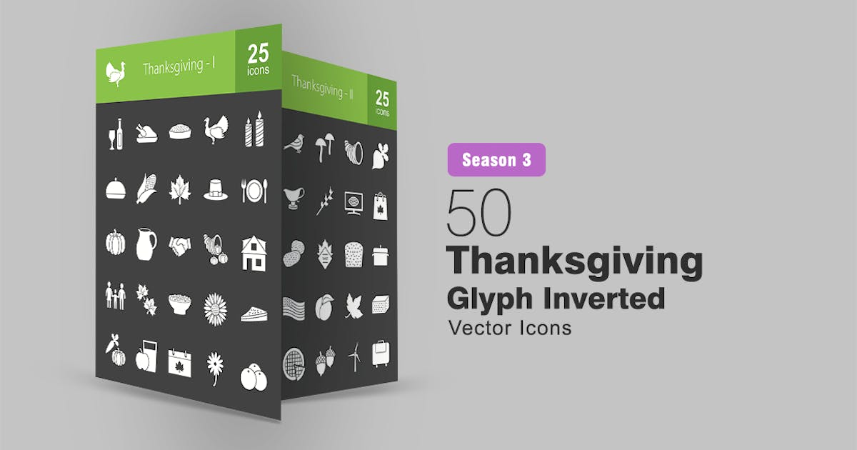 Download 50 Thanksgiving Glyph Inverted Icons by IconBunny
