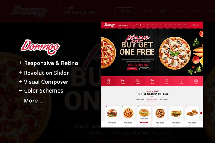 Thumbnail for Domnoo - Pizza & Restaurant WordPress Theme