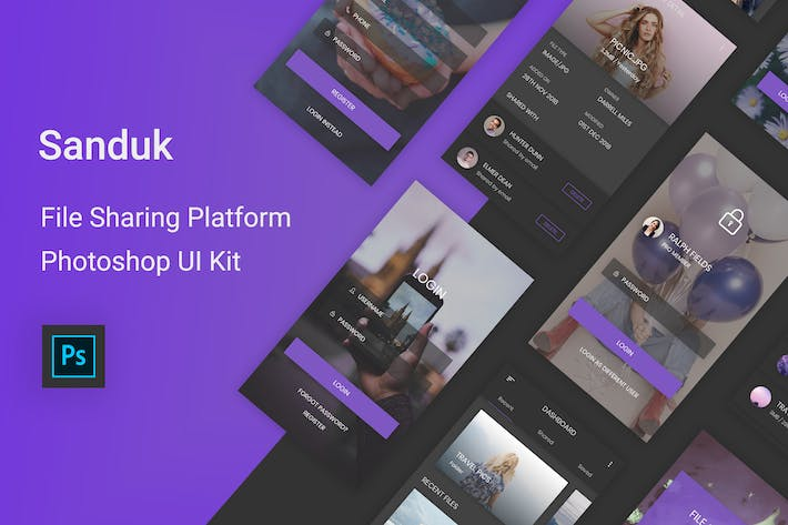 Thumbnail for Sanduk - File Sharing Platform UI Kit (Photoshop)