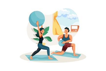 Pareja haciendo ejercicio en casa