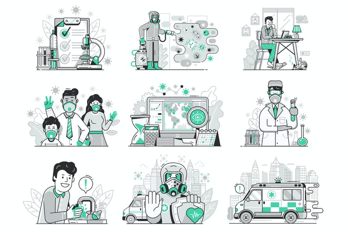 Thumbnail for Coronavirus World Epidemic Illustrations Set