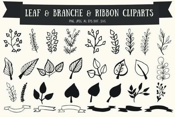 Thumbnail for Leaf, Branches & Ribbon Cliparts