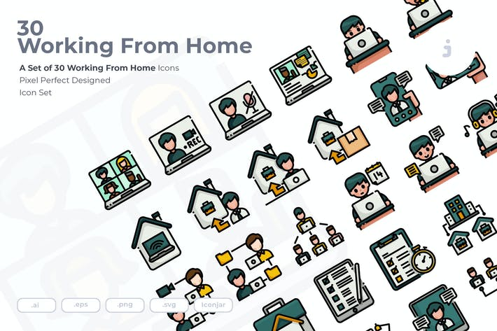 Thumbnail for 30 Working From Home Icons