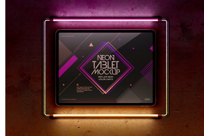 Tablet Pro Neon Light Frame Maquette