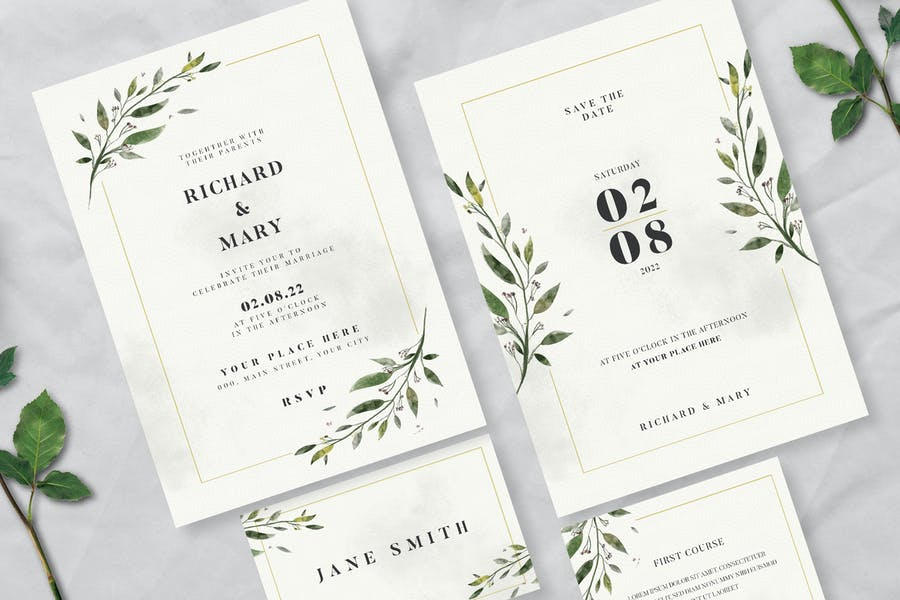 Watercolor Leaf Wedding Invitation Suite