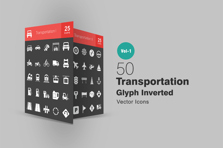 Thumbnail for 50 Transportation Glyph Inverted Icons