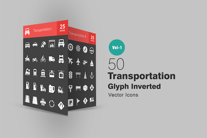 Cover Image For 50 Transportation Glyph Inverted Icons