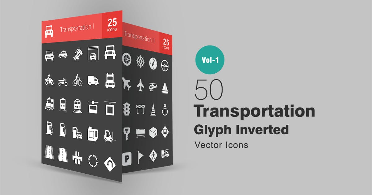 50 Transportation Glyph Inverted Icons by IconBunny