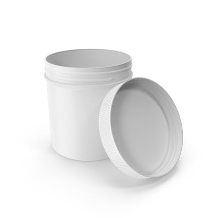 White Plastic Jar Wide Mouth Straight Sided 19oz Open
