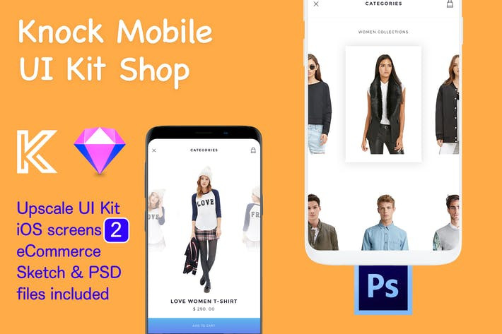Thumbnail for Knock Mobile UI Kit eCommerce - 2 Screens Clothes