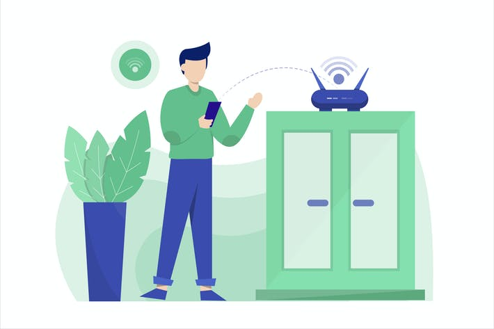 Thumbnail for Wifi Zone Flat Vector Illustration