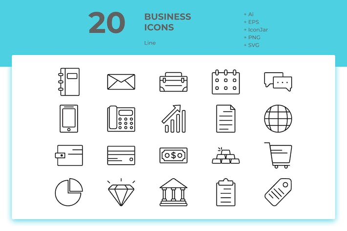 Thumbnail for 20 Business Icons (Line)