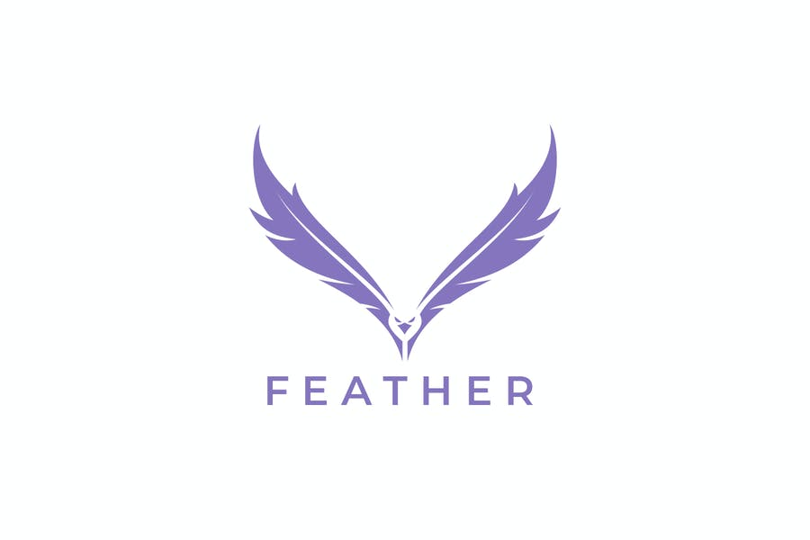 Feather And Flying Falcon Negative Space Logo