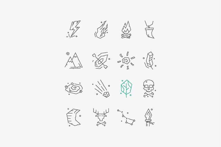 Satz von Vektor-Icons des antiken Lebens