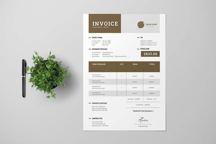Thumbnail for Clean Invoice With Brown Accent