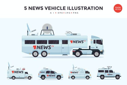 5 News Broadcasting Vehicle Vector Illustration