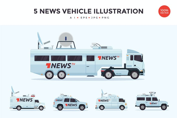 Thumbnail for 5 News Broadcasting Vehicle Vector Illustration