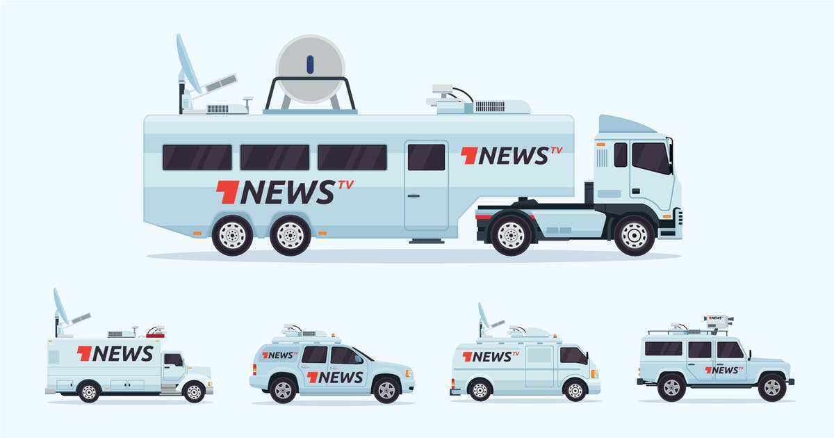 Download 5 News Broadcasting Vehicle Vector Illustration by naulicrea