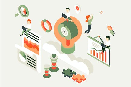 Business Process Isometric Illustration