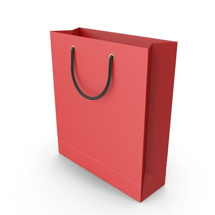 Red Shopping Bag with Black Handles