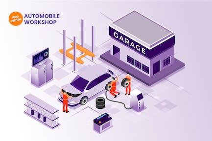 Isometrische AutomobilwerkstattVektor