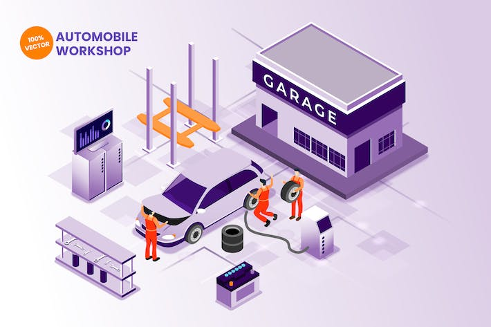 Thumbnail for Isometric Automobile Workshop Vector