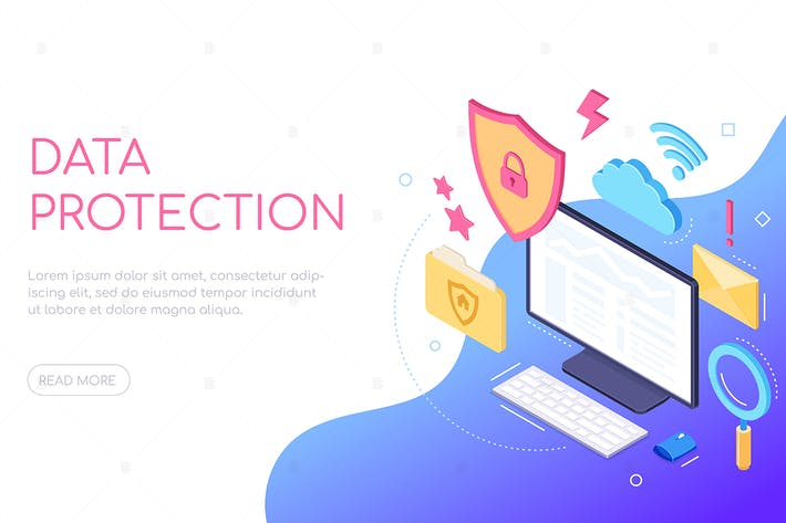 Thumbnail for Data protection - colorful isometric web banner