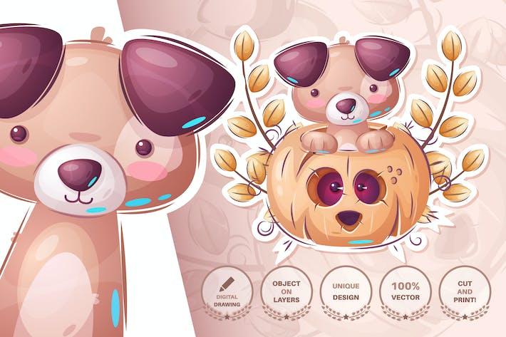 Thumbnail for Cute dog in pumpkin
