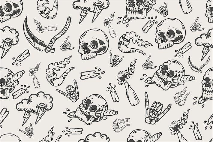 Vintage-Schädel, nahtloses Muster