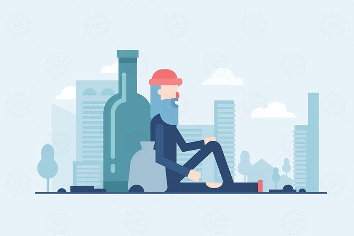 Thumbnail for Homeless man - flat design style illustration