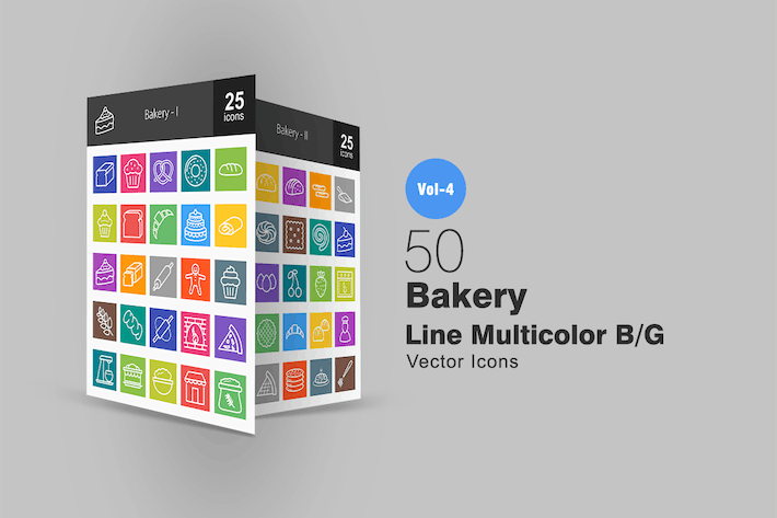 Thumbnail for 50 Bakery Line Multicolor Icons