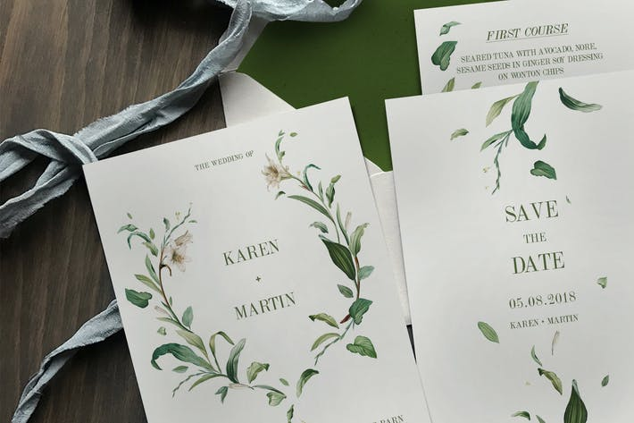 Thumbnail for Green Foliage Wedding Invitation