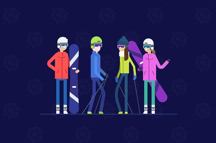 Thumbnail for Snowboarding and skiing - flat design illustration