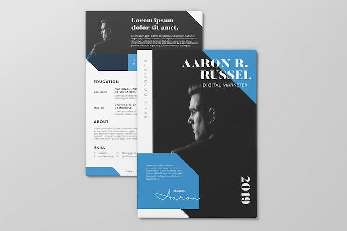 Thumbnail for Clean Minimalist CV Resume AI and PSD Flyer Vol.36