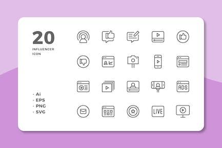 20 Influencer Icons (Line)
