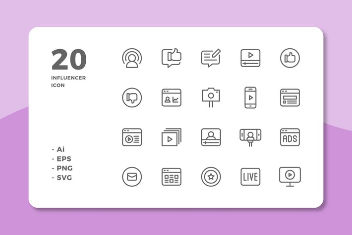 Thumbnail for 20 Influencer Icons (Line)