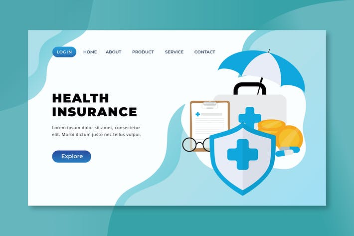 Thumbnail for Health Insurance - XD PSD AI Vector Landing Page