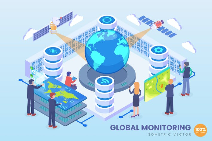 Thumbnail for Isometrische globale Monitoring-Technologie Vektor