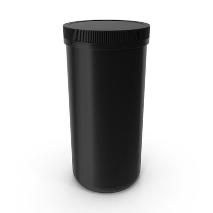 Plastic Jar Wide Mouth Straight Sided 100oz Closed Black