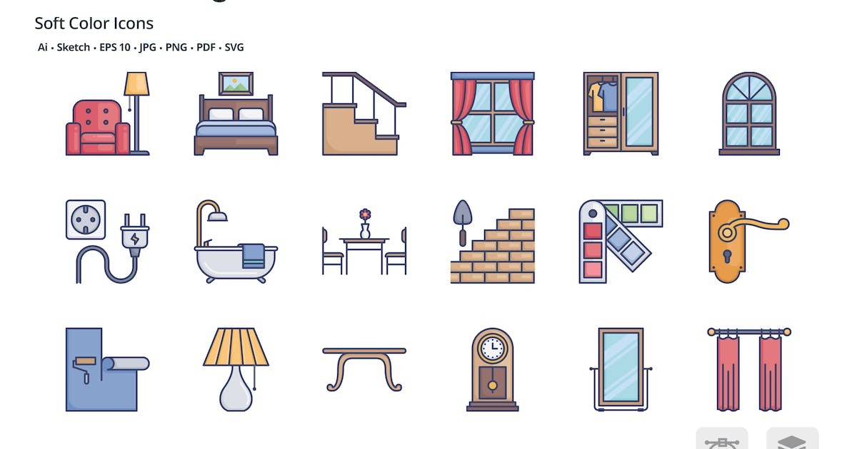Download Interior design soft color icons by roundicons