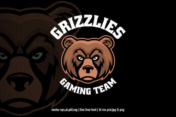 grizzly bear head for sport and e-sport logo