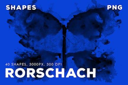 40 Rorschach PNG Tintenformen