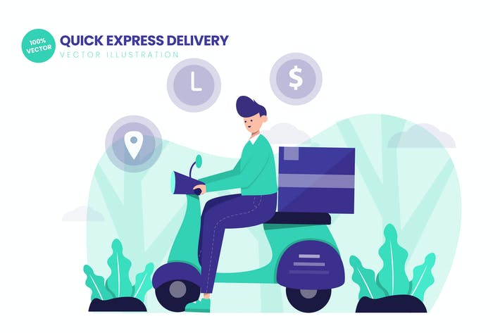 Thumbnail for Quick Express Delivery Flat Vector Illustration