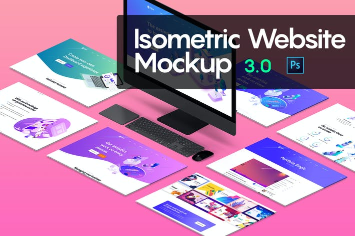 Thumbnail for Isometric Website Mockup 3.0
