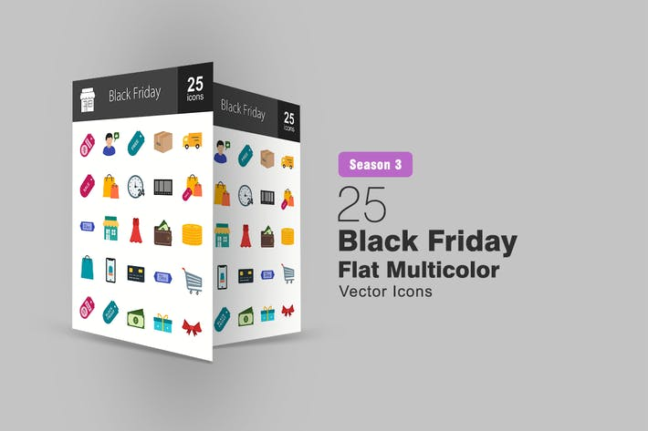 Thumbnail for 25 Black Friday Flat Multicolor Icons