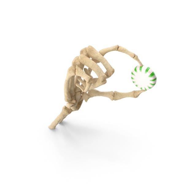 Скелет рука держит звездный свет мяты конфеты