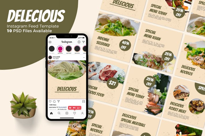 Thumbnail for Delicious - Food Instagram Post Template
