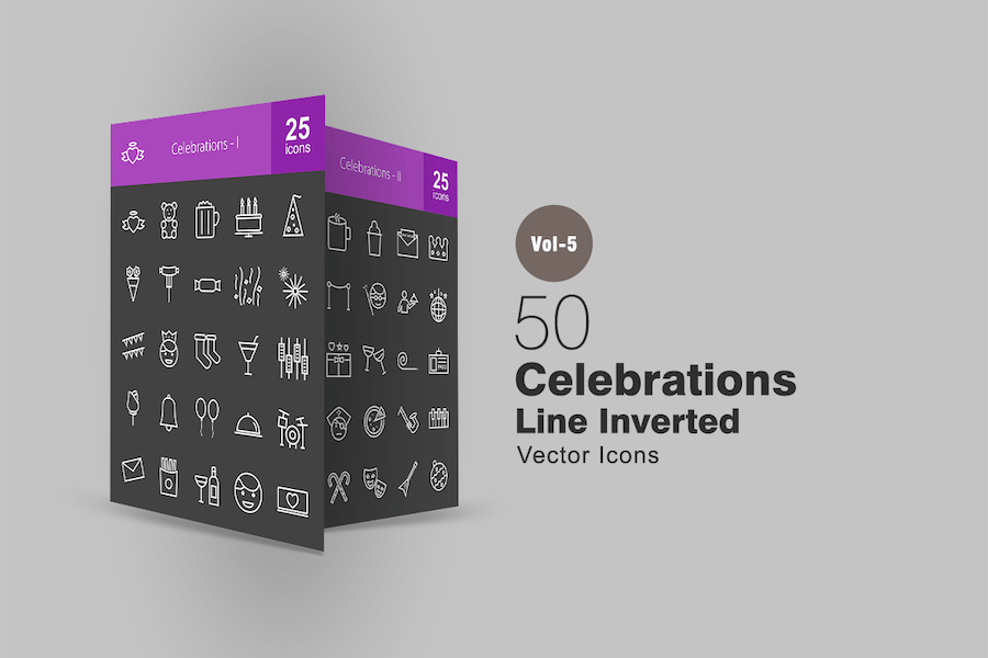 50 Celebrations Line Inverted Icons