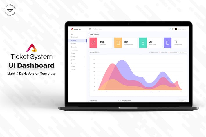 Cover Image For Ticket System Admin Dashboard UI Kit